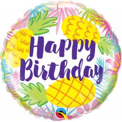 Balon Folie 45 cm Ananas- Happy Birthday, Qualatex 57268
