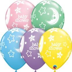 Baloane latex 11''/28cm Baby Shower asortate, Qualatex 36982