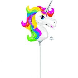 Balon mini figurina Unicorn Curcubeu - Amscan 36395