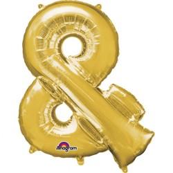 """Balon mini figurina Simbolul """"&"""" auriu - 27 x 35 cm, Amscan 33069"""