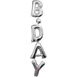 Pachet baloane B-Day  - 20 x 96 cm, Argintiu, Amscan 33104