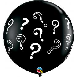 Baloane latex Jumbo 3' inscriptionate Question Marks - Onyx Black, Qualatex 43400, set 2 buc