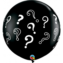Baloane latex Jumbo 3ft inscriptionate Question Marks - Onyx Black, Qualatex 43400, set 2 buc