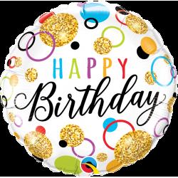Balon Folie 45 cm Happy Birthday Glitter Dots, Qualatex 57292