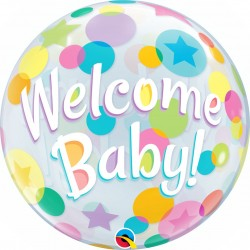 Balon Bubble 56 cm/22'' Welcome Baby Dots - Qualatex 25860