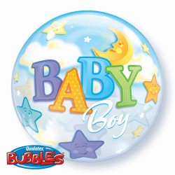 "Balon Bubble 22""/56 cm, Baby Boy - Qualatex 23597"