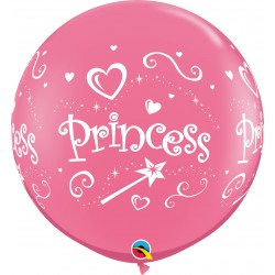 Baloane latex Jumbo 3ft inscriptionate Princess - Rose, Qualatex 18794, set 2 buc