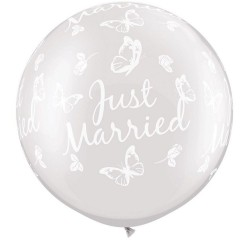 "Baloane latex Jumbo 30"" inscriptionate Just Married Butterflies-A-Round Pearl White, Qualatex 31562, 1 buc"