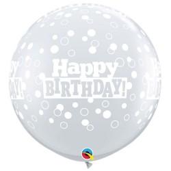 3' Printed Jumbo Latex Balloons, Birthday Stars & Swirls-A-Round Diamond Clear, Qualatex 46326, Pack of 2 pieces
