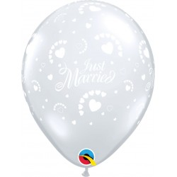 "Baloane latex 11"" inscriptionate Just Married, Hearts-A-Round Diamond Clear, Qualatex 60012"