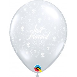 "Baloane latex 11""/28 cm inscriptionate Just Married, Flowers-A-Round, Diamond Clear, Qualatex 37078"