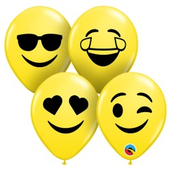 """Baloane latex 5"""" inscriptionate Smile Face Assortment, Qualatex 57961"""