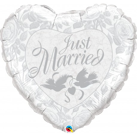Balon folie inima Just Married - 91 cm, Qualatex 82425