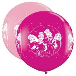 Balon Latex Jumbo 3 ft Printese Disney, Qualatex 49574, set 2 bucati