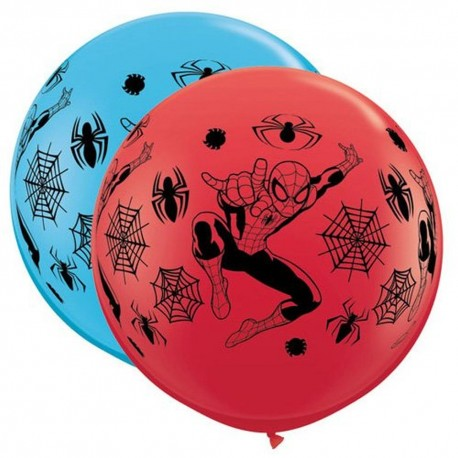 Balon Latex Jumbo 3 ft Spiderman, Qualatex 49573, set 2 bucati