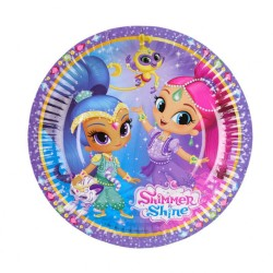 Farfurii carton Shimmer and Shine pentru petrecere copii - 18 cm, Amscan 9902153, Set 8 buc
