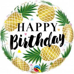 Balon Folie 45 cm Ananas Gold - Happy Birthday, Qualatex 57277