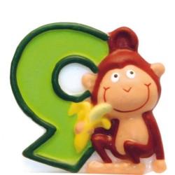 Lumanare aniversara Cifra 9 pentru tort Safari Monkey, Amscan 551799, 1 buc