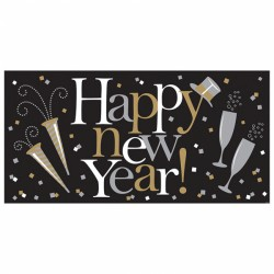 Banner decorativ pentru petrecere, Happy New Year, 165 x 80 cm, Amscan 120217, 1 buc