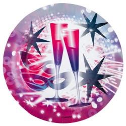 Farfurii carton pentru petrecere Revelion, Happy New Year - 23 cm, Amscan 552596, set 8 buc