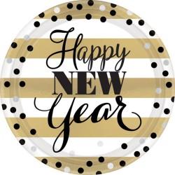 Farfurii carton pentru petrecere Revelion, Happy New Year - 23 cm, Amscan 551668, set 8 buc