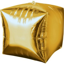 Balon folie cubez 3D auriu - 38 x 38 cm, Amscan 28336