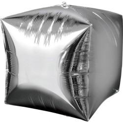 Balon folie cubez 3D agintiu - 38 x 38 cm, Amscan 28335