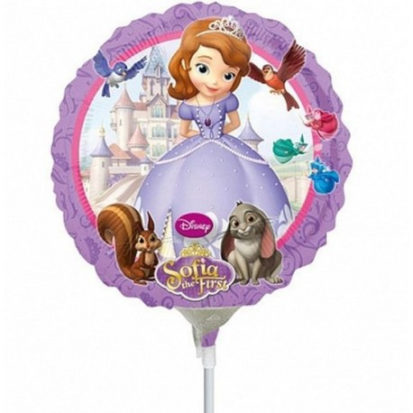 """Sofia the First Foil Balloons on Sticks, Amscan, 9"""", 08316"""