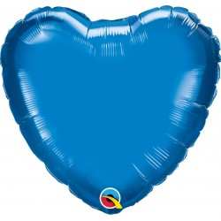 Balon folie Sapphire Blue metalizat in forma de inima - 45 cm, Qualatex 22612, 1 buc