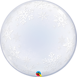 Balon Deco Bubble Frosty Snowflakes 24''/61cm, Qualatex 52005