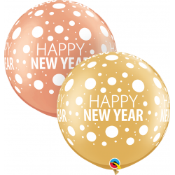 Baloane latex Jumbo 30'' inscriptionate Happy New Year, Qualatex 80680, set 2 buc