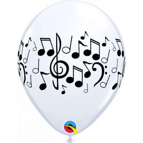 "Music Notes 11"" latex balloons Qualatex 39769"
