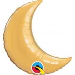 Balon Folie Auriu Metalizat cu Forma de Semiluna - 23 cm, Qualatex 42122