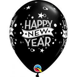 Baloane latex 11'' inscriptionate Happy New Year, Qualatex 46511, set 6 buc