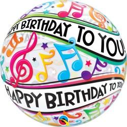"Balon Bubble 22""/56 cm Qualatex, Happy Birthday Music Notes, 13795"