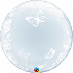 Balon Deco Bubble Fluturi si Trandafiri - 24''/61 cm, Qualatex 29718
