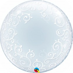 Balon Deco Bubble Filigran - 24''/61 cm, Qualatex 13693