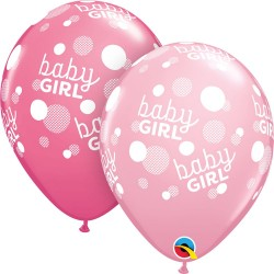 Baloane latex 11''/28 cm Baby Girl Dots-A-Round, Qualatex 55987