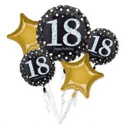 Buchet Baloane Happy Birthday 18, Amscan 35519, set 5 bucati
