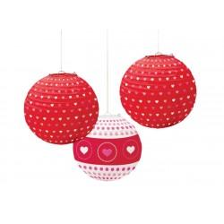 Ornamente Valentine's Day tip lampion, Amscan 240028, set 3 bucati