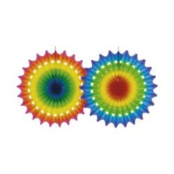 Decoratiune tip evantai din hartie - 100 cm, Multicolora, Asmcan 4126, 1 buc