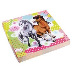 20 napkins Charming Horses, 33 x 33 cm, Amscan 552344, set of 20 pcs