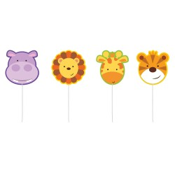 Jungle Animals Mini-Figurine Candles, Amscan 9901921, Pack of 4 pieces