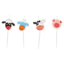 Farm Animals Mini-Figurine Candles, Amscan 9900385, Pack of 4 pieces