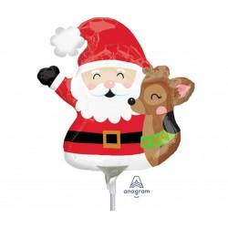 """9"""" Santa Claus Mini Shape Foil Balloon, Amscan 36084"""