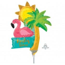 Balon mini figurina Let's Flamingle Party Time, Amscan 37118