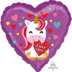Love You Unicorn Foil Balloon, 45 cm, Amscan 36451