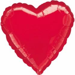 Balon folie 45 cm inima rosu, Amscan 10584