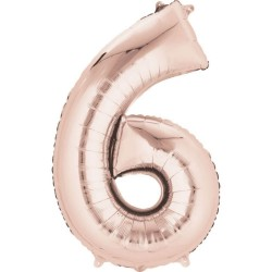 Balon folie cifra 6 Rose Gold - 43 x 66 cm, Amscan 36601