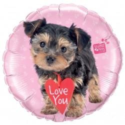 "18""  Love You Terrier Round Foil Balloon, Qualatex 55232"